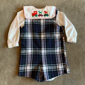 Mondays Child Boys Smocked Christmas Romper Outfit